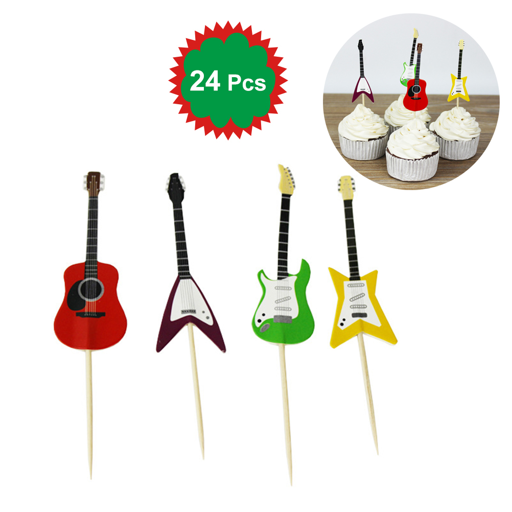 Image 4 - BESTOYARD 24pcs/set Guitar Cupcake Toppers Picks Musical Instrument Shape Cake Decorating Tools for Birthday Party Decor-in Cake Decorating Supplies from Home & Garden