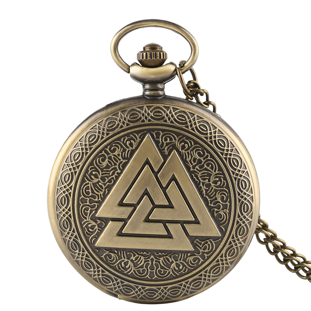 Bronze Vintage Triangle Valknut Norse Vikings Quartz Pocket Watch Necklace Three Interlocking Fob Watches Women Men Gift