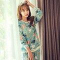 2017 Primavera Otoño Invierno de Algodón Mujeres de Los Pijamas de La Muchacha Conjuntos de Pijamas ropa de Dormir Pijamas para las mujeres ropa de Dormir de Manga Larga