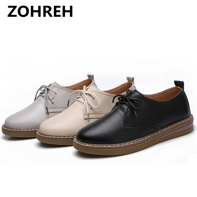 ZOHREH Genuine Leather Women's Oxford Shoes 2018 Fashion Women Lace Up Flats Casual Woman Moccasins Loafers Ladies Flat Shoes lovexss casual oxford shoes fashion metal decoration shallow shoes black purple genuine leather flats woman casual oxford shoes