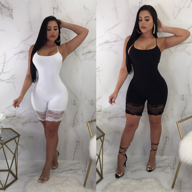 <font><b>2018</b></font> <font><b>Sexy</b></font> <font><b>Jumpsuit</b></font> Women Casual Sleeveless Bodycon Romper Solid <font><b>Jumpsuit</b></font> Skinny Females Lace Side Short Trouser Bodysuits image
