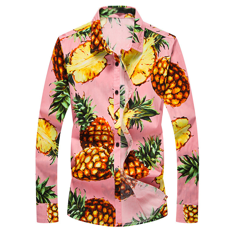 2018 Vacation Hawaii Style Mens Shirts Dress Long Sleeve Pineapple Print Stand Collar Slim Fit Casual Shirts Male Beach Tops