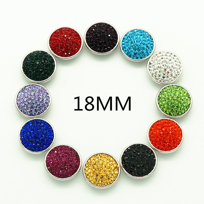 New 12pcs/lot 18MM Manual Rhinestone&Clay Mixed Birthstone snap Button Charm Styles snap bracelets wholesale KB0306 image
