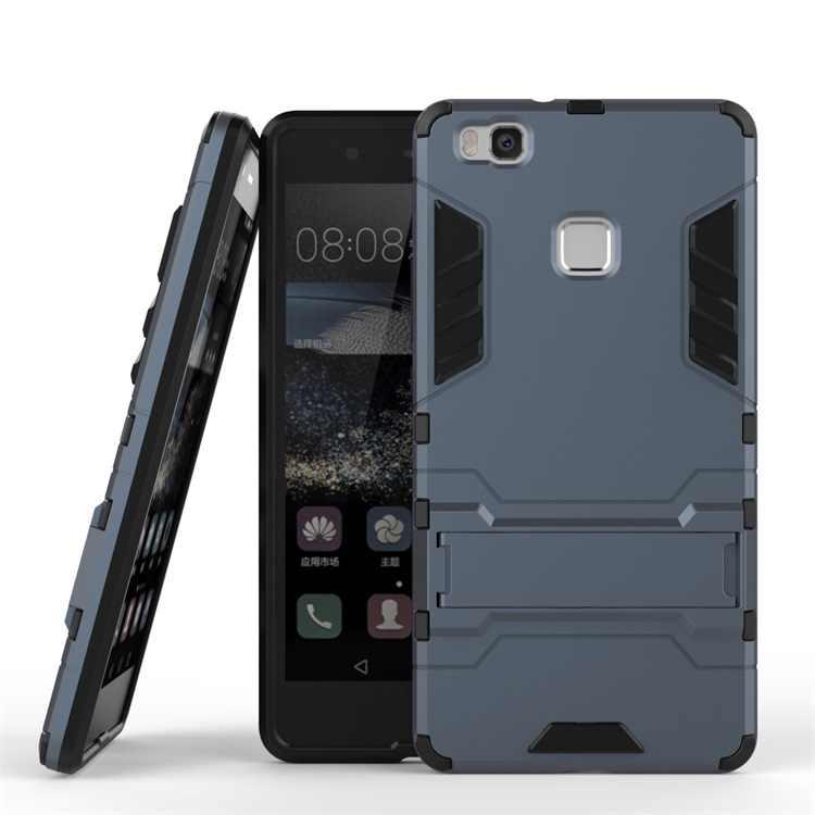 Armatura di Caso Per Huawei P9 lite Heavy Duty Ibrido di Plastica Dura morbido Robusta Gomma di Silicone Copertura Del Telefono Coque con la Funzione Del Basamento <