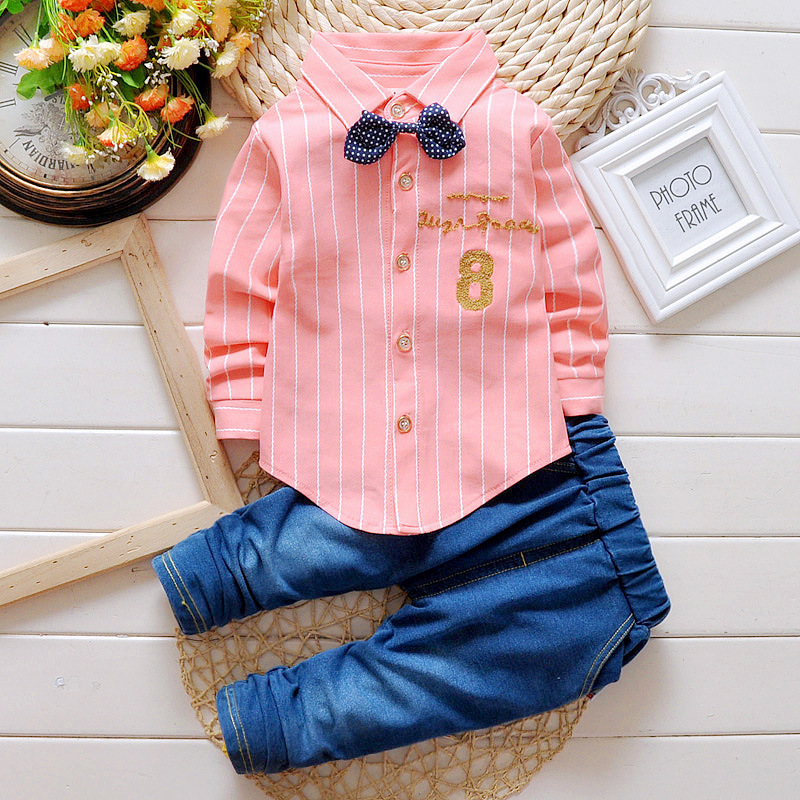 Baby Boy Clothing Set 2017 Spring Korean Striped Long Sleeved Shirts + Jeans Newborn Baby Girl Clothes Kids Bebes Jogging Suits summer baby boy clothes set cotton short sleeved mickey t shirt striped pants 2pcs newborn baby girl clothing set sport suits