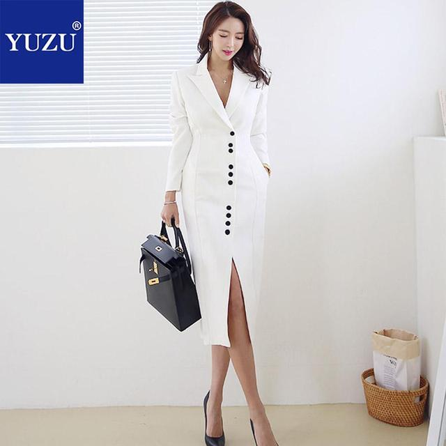 9abc4a11dbbd Long Blazer Dress Winter Black White Turn-down Collar Single Breasted Long  Sleeve Office Lady