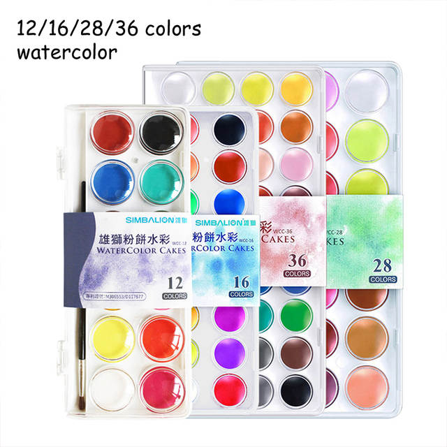 Simbalion 12 16 28 36 Colors Professional Solid Watercolor Paints