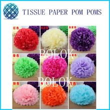 Free Shipping 50 pcs 4 inch (10cm) Tissue Paper Pom Poms Craft Paper Flower 28 kinds color