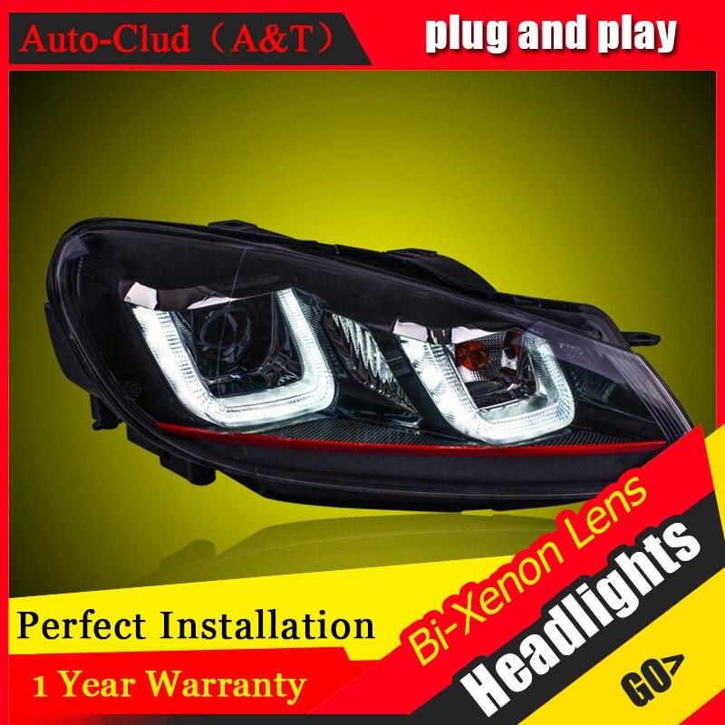 Автомобиль для укладки для VW гольф 6 светодиодные фары 2009-12 для гольф 6 глава лампы глаза Ангела Сид DRL передний свет Би-Ксеноновые линзы ксенон спрятанный набор