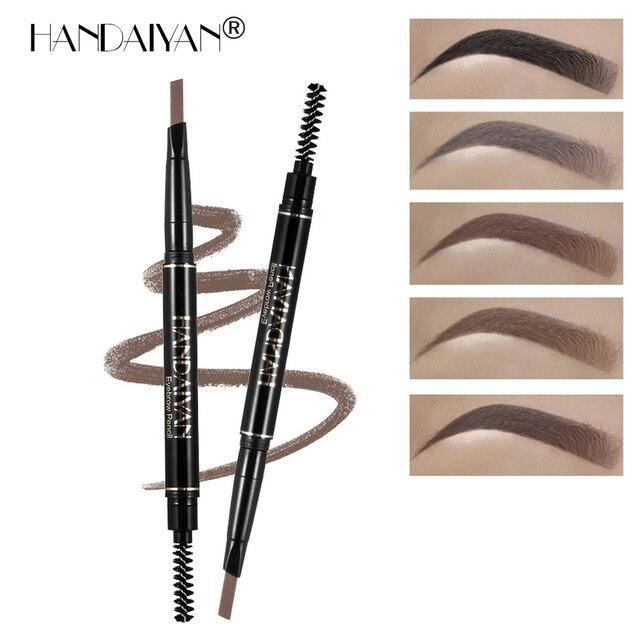 Lápiz de cejas HANDAIYAN a prueba de agua Microblading pluma crayon sourcils negro gris marrón automático maquillaje de ojos lápiz y brocha de cejas