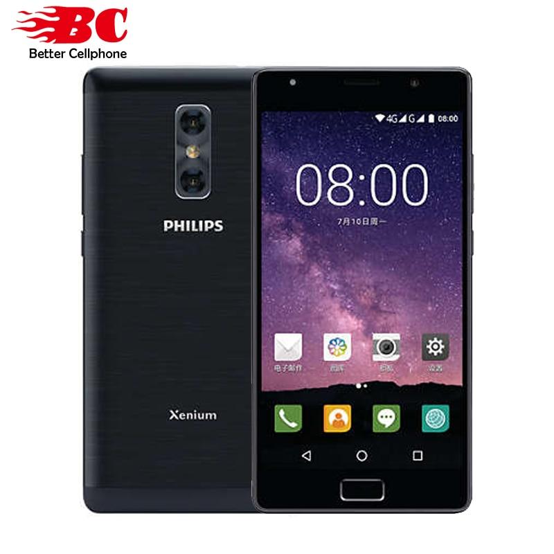 D'origine Philips X598 4 gb RAM 64 gb ROM MTK Octa Core 1.5 ghz 4000 mah batterie Android 7.0 5.5 pouce double caméra D'empreintes Digitales téléphone