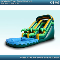 8m commercial inflatable water slide with pool jungle tropical Coconut tree inflatable slide toy for adults and kids with blower
