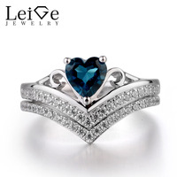 Leige Jewelry London Blue Topaz Ring Silver 925 Wedding Promise Rings Fine Jewelry Heart Cut Christmas Romantic Gifts For Woman