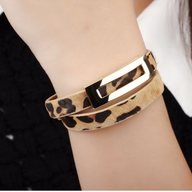 New Retro Leopard Print Bracelet Femme Double Surround Adjustable Leather Bracelets Unisex Bangles Pulseiras Masculina Charms