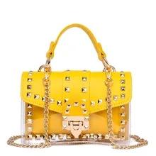 7b5ac742fe22b Moda 2 setleri Tasarım Marka Kadın şeffaf çanta Açık PVC Jöle Küçük Kılıf  postacı çantası Kadın