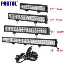 "Partol 12 ""20"" 23 ""31"" 3-rzędowym 6D LED Światło Bar Offroad Led Bar Combo Beam jazdy Work Light Truck SUV ATV 4×4 4WD CREE Chips 12 V"