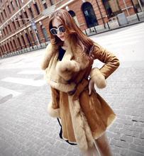 Fur coat 2016 winter high fashion women's luxurious faux fur coat slim fit Suede Faux Leather long outerwear parkas top qualit