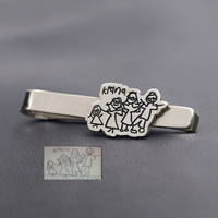 Wholesale Family Picture Personalized Silver Tie Clip 925 Sterling Silver