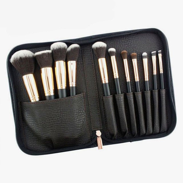 11pcs Pro Foundation Powder Blush Makeup Brushes Set Eyeliner Eyeshadow Eyebrow Lips Brush With makeup brush Bag Case Holder