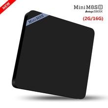 Android 6.0 TV Box Nuevo Mini M8S II 2G/16G Amlogic S905X TV caja Bluetooth 4.0 kodi 2.4G wifi TV Smart Box Media Player iptv JD003