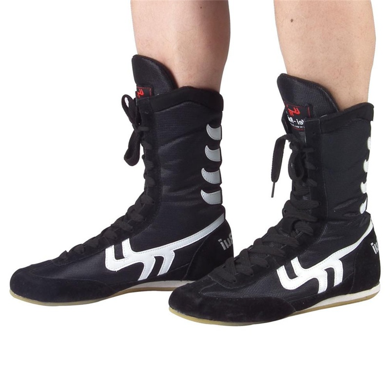 Authentic Wrestling Shoes For Men Training Shoes Cow Muscle Outsole Lace Up Boots Sneakers Professional Boxing Shoes D0557 image