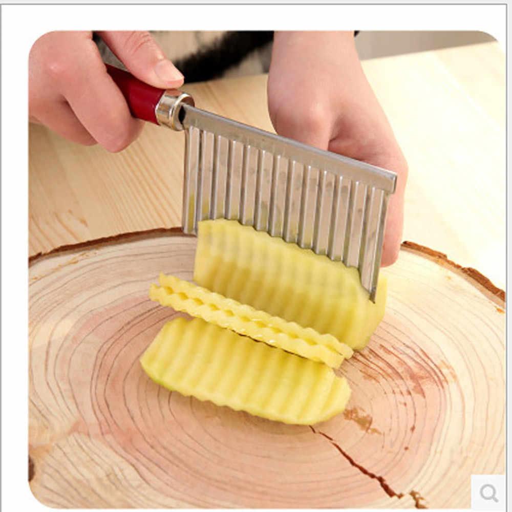 1/2 sztuk ze stali nierdzewnej frytka ziemniaczana krajalnica do faliste krawędziach narzędzie ciasto warzywa owoce marszczone nóż nóż do ziemniaków Chopper FrenchFry