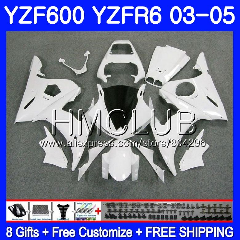 Для кузова yamaha YZF R6 03 05 YZF600 YZFR6 03 04 05 101HM. 10 YZF R600 YZF 600 R 6 YZF R6 2003 2004 2005 Обтекатели глянцевый белый