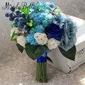 Real de la vendimia Azul Y Blanca Ramo de Novia 2016 Ramos De Novia Artificial Flores de dama de Honor Ramo De La Boda Para La Novia