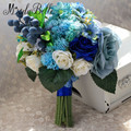 Vintage Royal Blue And White Bridal Bouquet 2016 Ramos De Novia Artificial Flowers Bridesmaid Wedding Bouquet For Bride