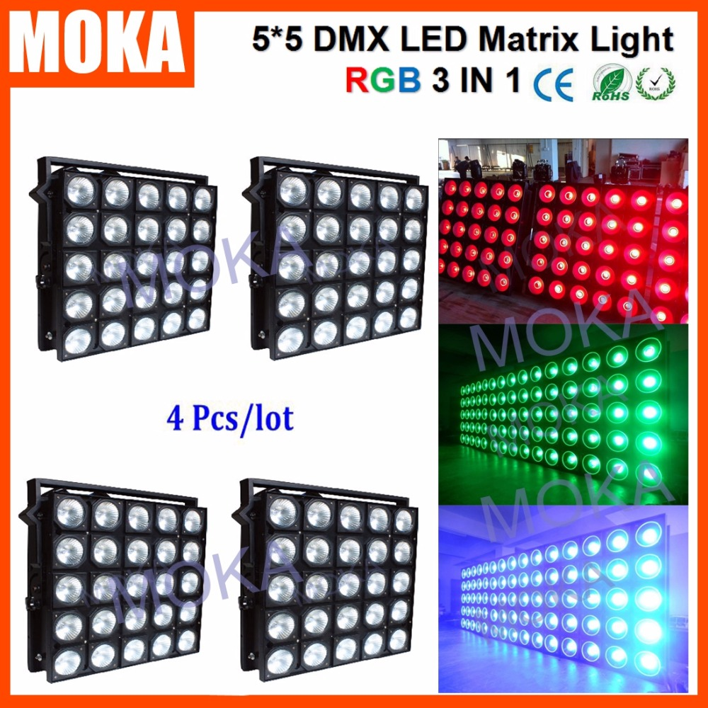 4PCS/LOT 800W Power Consumption <font><b>5X5</b></font> Matrix stage club effect light 25x30w <font><b>led</b></font> Professional Dj RGB Light
