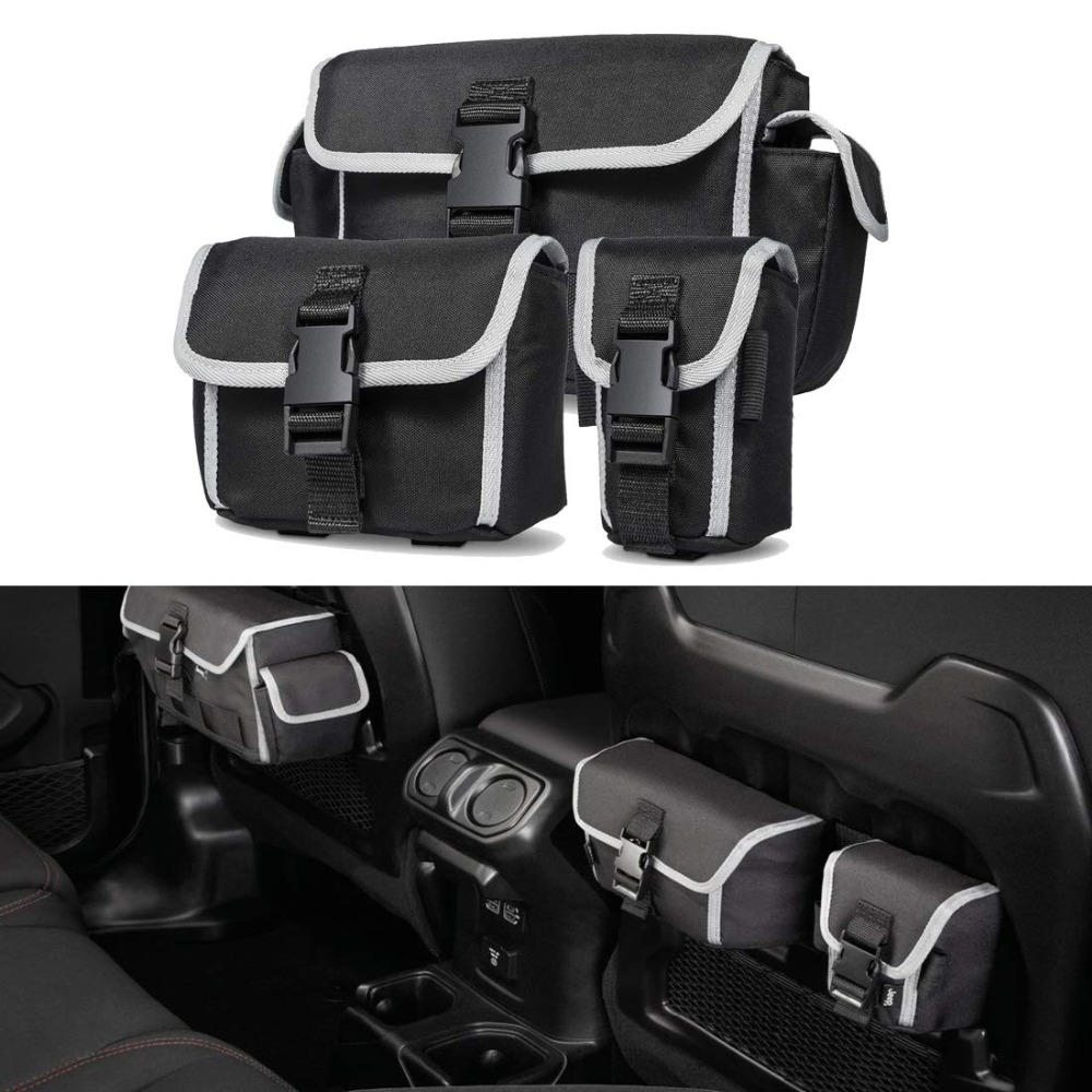 For Jeep Wrangler JL Rubicon Car Storage Organizers Seat Back Pack Tailgate Door Bags Interior Accessories
