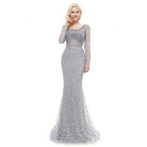 Image 5 - Роскошные вечерние платья с длинными рукавами 2020, кружевное платье русалки с тяжелыми кристаллами и бисером, женские вечерние платья для выпускного вечера в арабском стиле
