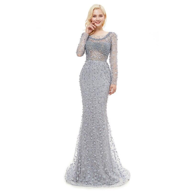 Luxe robes de soirée dentelle 2019 sirène manches longues perles cristaux rose femmes formelle Robe de soirée Robe de bal Robe de soirée - 5