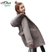 JQNZHNL Women Elegant Woolen Coats 2017 New Fur Collar Hooded Woolen Jacket Overcoats Medium Long Thicken Slim Woolen Coats E724