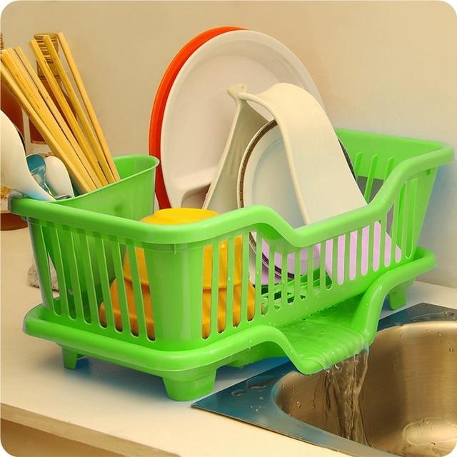 Home Washing Holder Basket Pp Great Kitchen Sink Dish Drainer Drying Rack Organizer Blue Pink White
