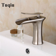 Free shipping Nickel Waterfall Faucet Bathroom Faucet Bathroom Basin Faucet Mixer Tap  Hot & Cold Sink faucet Lavatory Tap