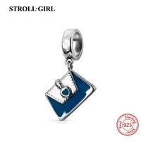 Luxury 100 925 Sterling Silver Blue Enamel Handbags Charm Beads Fit Authentic Pandora Bracelet Pendant Original