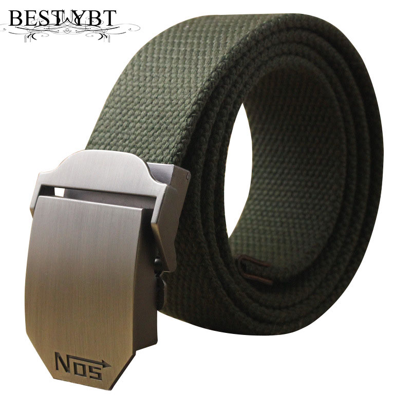 Best YBT Unisex Tactical Belt Top Quality 4 Mm Thick 3.8 Cm Wide Casual Canvas Belt Outdoor Alloy Automatic Buckle Men Belt