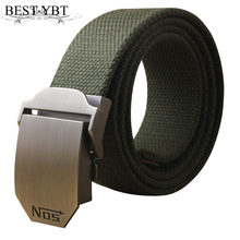 Best YBT Unisex tactical belt Top quality 4 mm thick 3.8 cm wide casual canvas belt Outdoor Alloy Automatic buckle men Belt(China)