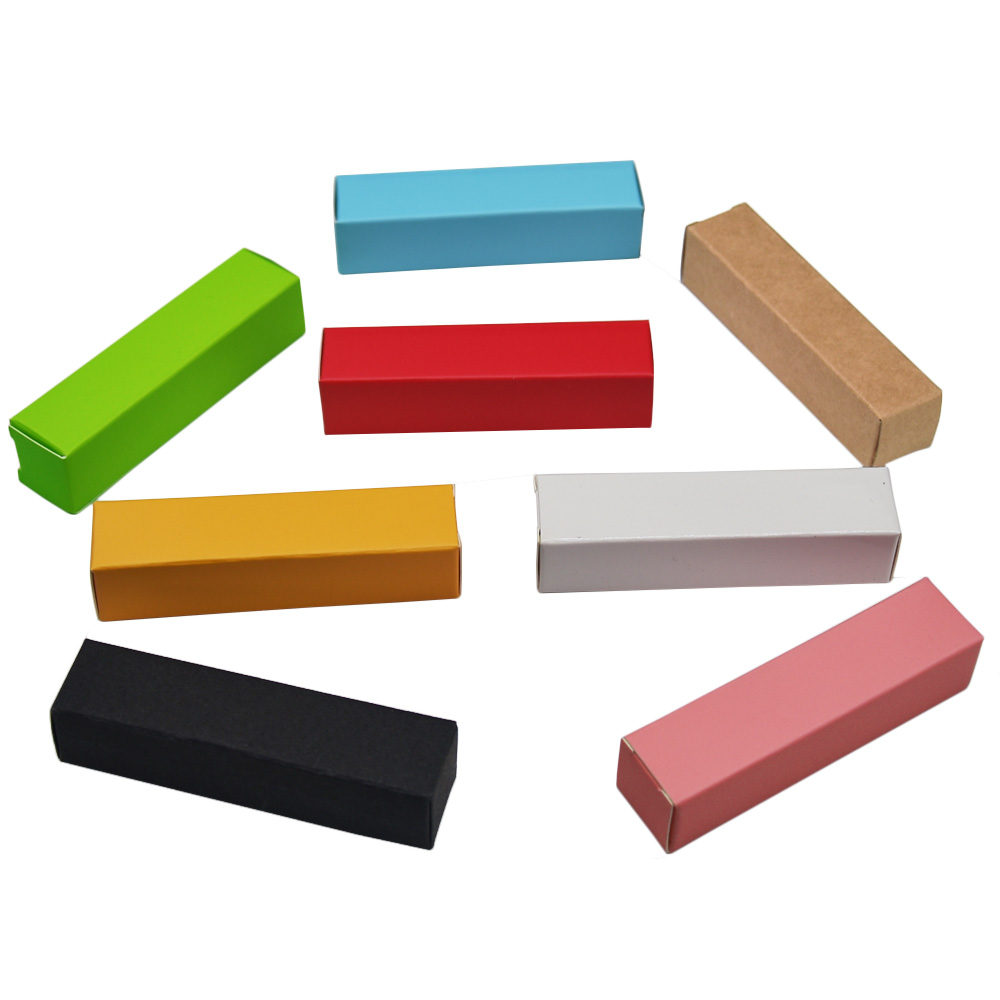 50Pcs Mini Gift Kraft Paper Packaging Boxes 2*2*8.5cm Lipstick Paperboard Packing Boxes for Wedding Party Anniversary Package
