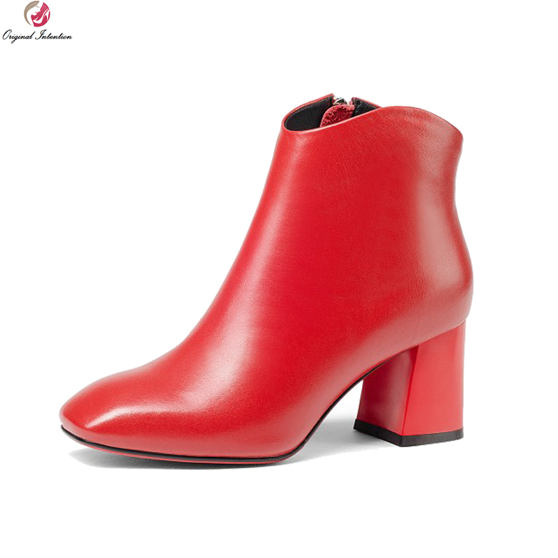 Original Intention New Fashion Women Ankle Boots Nice Sqaure Toe Square Heels Boots Stylish Black Red Shoes Woman US Size 3-10.5 original intention new fashion women pumps square toe square heels pumps cow leather stylish black shoes woman us size 3 5 10