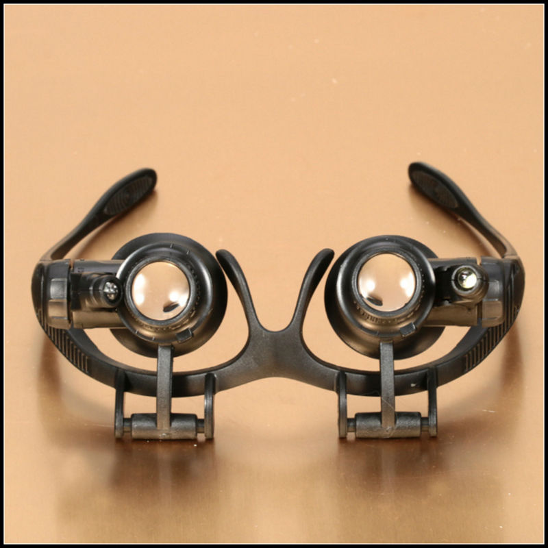 10X 15X 20X 25X Helmet Magnifying Glass Eye Glasses Lens Magnifier Loupe Jeweler Watch Repair Tools with 2 LED Light