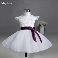 ZJ08003 2017 Hottest Flower Girl Dresses For Wedding Kids Princess Dress New Arrival With Bow For