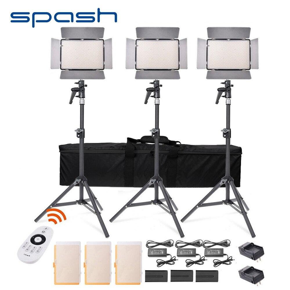 Spash TL-600S 3 Conjuntos de Iluminação Fotográfica LED Luz de Vídeo 600 LEVOU 3200 K/5500 K CRI95 Foto Da Lâmpada Do Painel luzes LED para Gravação de Vídeo