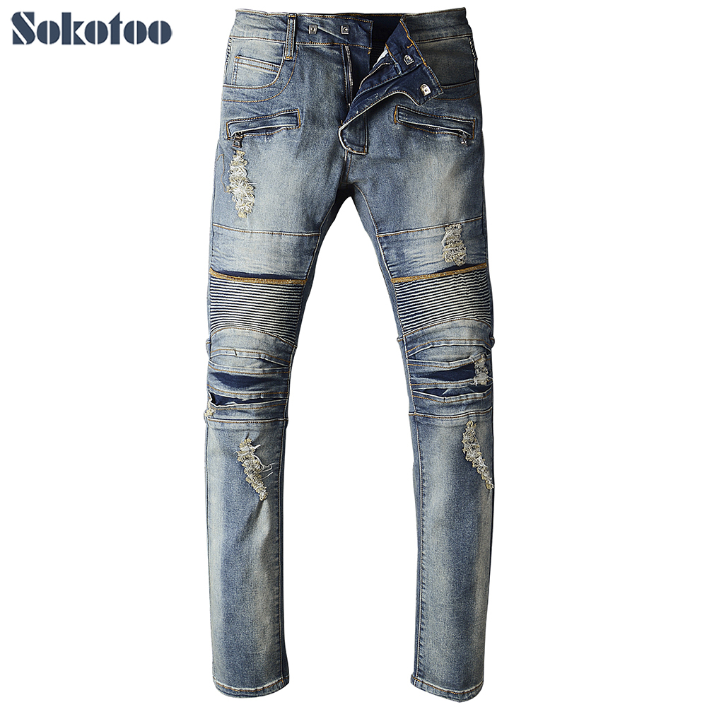 Sokotoo Men's casual holes ripped biker jeans for moto Male patchwork slim straight stretch denim pants Long trousers big size holes jeans true men ripped jean pants adult retro straight male moto