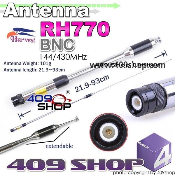 Урожай двухдиапазонный 144 / 430 мГц выдвижная BNC антенна для BF-490 BF-568 BF-758-S FD-55 FD-56 FD-58 PX-328 PX508 PX-555 PX-666