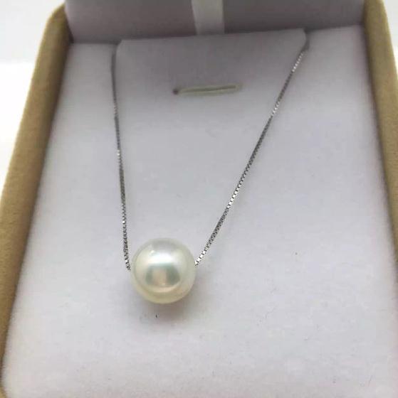 100% bijoux en perles réelles, AA 8-9mm près de rond, blanc 925 collier de perles d'eau douce en argent, femmes de mariage, amour, cadeau de fête des mères