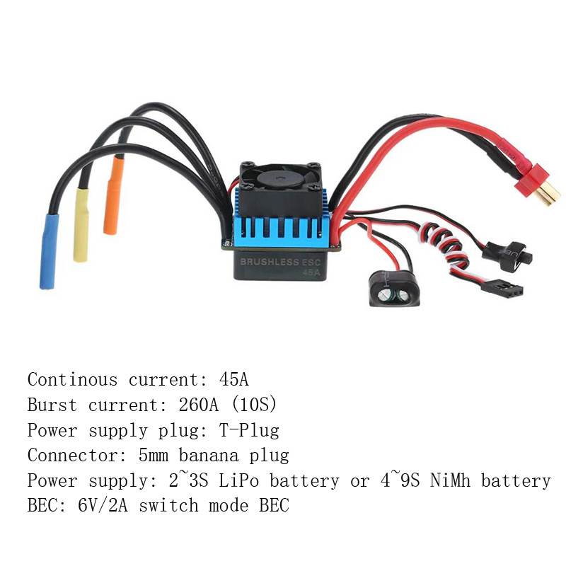 25A 35A 45A 60A 80A 120A ESC Electric Speed Controller for Traxxas Redcat 1/18 1/16 1/12 1/10 1/8 RC Truck Monster Off road CarParts & Accessories   -