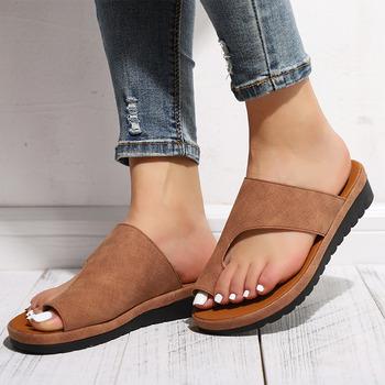 MCCKLE kobiety wygodne zwykły buty płaski obcas panie dorywczo duży palec stóp korekta sandały ortopedyczne Bunion korektor Flip Flop tanie i dobre opinie Podstawowe Mieszkanie z Otwarta RUBBER Mieszkanie (≤1cm) 0-3 cm Na co dzień Slip-on Pasuje prawda na wymiar weź swój normalny rozmiar