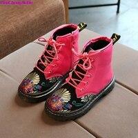 HaoChengJiaDe Children Boots Fashion Kids Winter Warm Boots Girls Princess Embroidery Ankle Boots Antislip Martin Boots